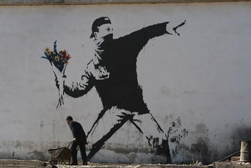 rage flower thrower banksy new bond street pawnbrokers