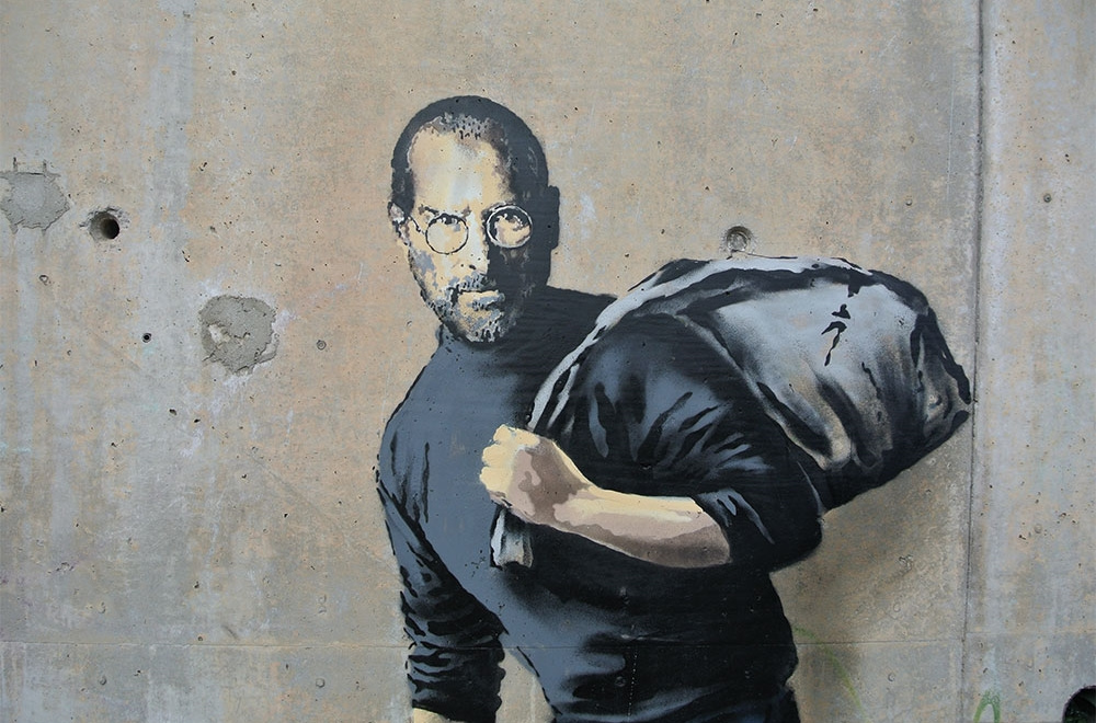 steve jobs banksy new bond street pawnbrokers